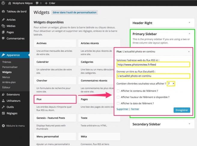 """Une seule et unique capture d'écran suffit pour décrire comment ajouter ce widget """"news photo"""" à votre site web"""