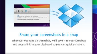 dropbox beta import iPhoto partage captures d'écran