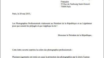 lettre ouverte union des photographes professionnels a francois hollande