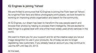 Yahoo rachete IQ Engines pour ameliorer Flickr